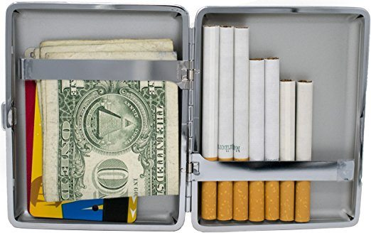 Smooth Leather (100s) Nickle-Plated Metal Cigarette Case